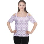 Lilac Damask Pattern Women s Cutout Shoulder Tee