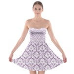 Lilac Damask Pattern Strapless Bra Top Dress
