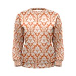 Nectarine Orange Damask Pattern Women s Sweatshirt