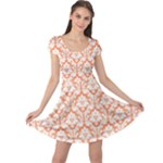 Nectarine Orange Damask Pattern Cap Sleeve Dress