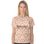 Nectarine Orange Damask Pattern Women s V-Neck Sport Mesh Tee