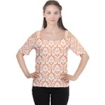 Nectarine Orange Damask Pattern Women s Cutout Shoulder Tee