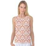 Nectarine Orange Damask Pattern Women s Basketball Tank Top