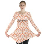 Nectarine Orange Damask Pattern Long Sleeve Tunic