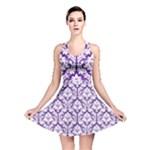 Royal Purple Damask Pattern Reversible Skater Dress