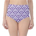 Royal Purple Damask Pattern High-Waist Bikini Bottoms View1