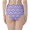 Royal Purple Damask Pattern High-Waist Bikini Bottoms View2