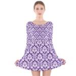 Royal Purple Damask Pattern Long Sleeve Velvet Skater Dress