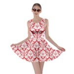 Poppy Red Damask Pattern Skater Dress