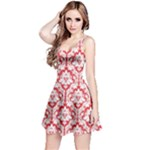 Poppy Red Damask Pattern Reversible Sleeveless Dress