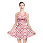 Poppy Red Damask Pattern Reversible Skater Dress
