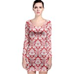 Poppy Red Damask Pattern Long Sleeve Bodycon Dress