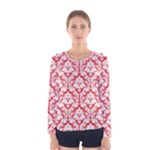 Poppy Red Damask Pattern Women s Long Sleeve Tee