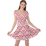 Poppy Red Damask Pattern Cap Sleeve Dress