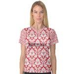 Poppy Red Damask Pattern Women s V-Neck Sport Mesh Tee