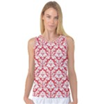 Poppy Red Damask Pattern Women s Basketball Tank Top