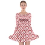 Poppy Red Damask Pattern Long Sleeve Skater Dress