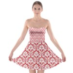 Poppy Red Damask Pattern Strapless Bra Top Dress