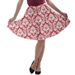 Poppy Red Damask Pattern A-line Skater Skirt