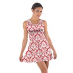 Poppy Red Damask Pattern Cotton Racerback Dress