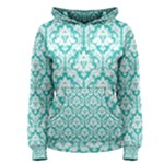 Turquoise Damask Pattern Women s Pullover Hoodie