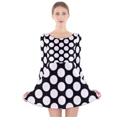 Black And White Polkadot Long Sleeve Velvet Skater Dress by Zandiepants