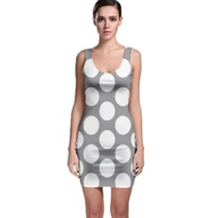 Grey Polkadot Sleeveless Bodycon Dress by Zandiepants