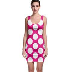 Pink Polkadot Sleeveless Bodycon Dress by Zandiepants