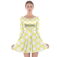 Yellow Polkadot Long Sleeve Skater Dress by Zandiepants