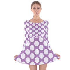 Lilac Polkadot Long Sleeve Velvet Skater Dress by Zandiepants