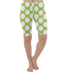 Spring Green Polkadot Cropped Leggings by Zandiepants