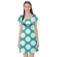 Turquoise Polkadot Pattern Short Sleeve Skater Dress by Zandiepants