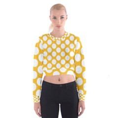 Sunny Yellow Polkadot Women s Cropped Sweatshirt by Zandiepants
