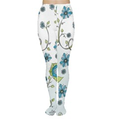 Blue Whimsical Flowers  On Blue Women s Tights by Zandiepants