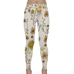 Yellow Whimsical Flowers  Yoga Leggings by Zandiepants