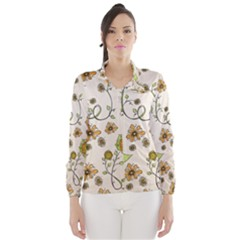 Yellow Whimsical Flowers  Wind Breaker (women)
