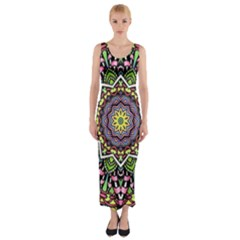 Psychedelic Leaves Mandala Fitted Maxi Dress by Zandiepants
