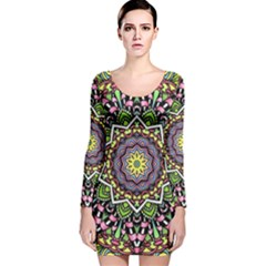 Psychedelic Leaves Mandala Long Sleeve Velvet Bodycon Dress by Zandiepants