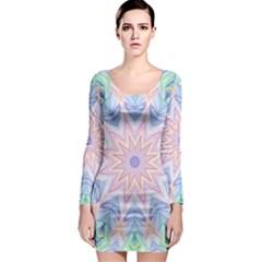 Soft Rainbow Star Mandala Long Sleeve Bodycon Dress by Zandiepants