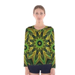 Woven Jungle Leaves Mandala Women s Long Sleeve Tee by Zandiepants