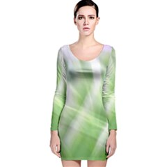 Green And Purple Fog Long Sleeve Velvet Bodycon Dress by timelessartoncanvas