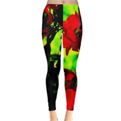 Red Roses And Bright Green 3 Leggings  by timelessartoncanvas