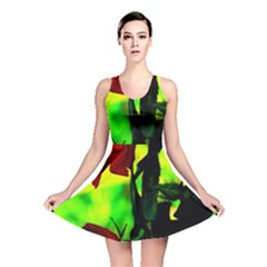 Red Roses And Bright Green 3 Reversible Skater Dress by timelessartoncanvas