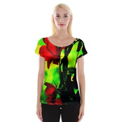 Red Roses And Bright Green 3 Women s Cap Sleeve Top by timelessartoncanvas
