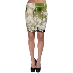 Little White Flowers Bodycon Skirts by timelessartoncanvas