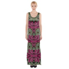 The Last Peacock In Metal Maxi Thigh Split Dress by pepitasart