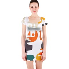 Shapes In Retro Colors On A White Background Short Sleeve Bodycon Dress by LalyLauraFLM