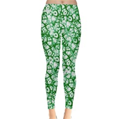 Officially Sexy Green & White Cracked Pattern Winter Leggings