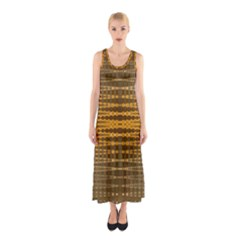 Yellow Gold Khaki Glow Pattern Full Print Maxi Dress by BrightVibesDesign
