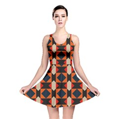 Rhombus And Stripes      Reversible Skater Dress by LalyLauraFLM